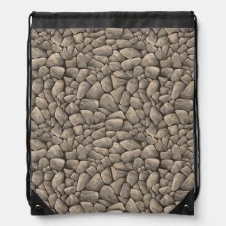Cartoon Stone Texture Drawstring Bag