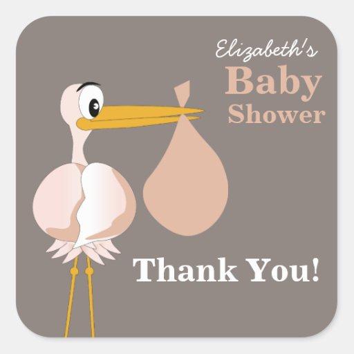 Cartoon Stork Baby Shower Sticker