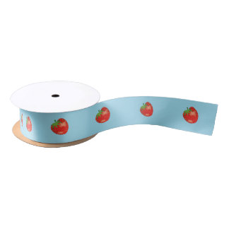Cartoon Strawberries On Blue Satin Ribbon