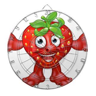 Cartoon Strawberry Fruit Mascot Character Dartboard