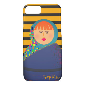Cartoon Stripes Squares Cool Girl Personalized iPhone 8/7 Case