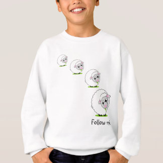 Cartoon style cute and cuddly white woolly sheep, sweatshirt