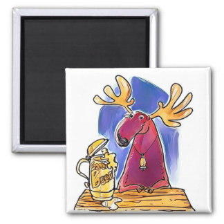cartoon style funny moose drinking beer square magnet