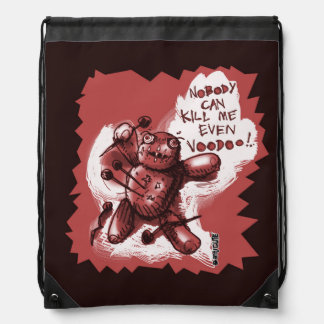 cartoon style funny voodoo baby drawstring bags