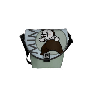 CARTOON STYLE GRIZZLY BEAR MIME MINI MESSENGER BAG