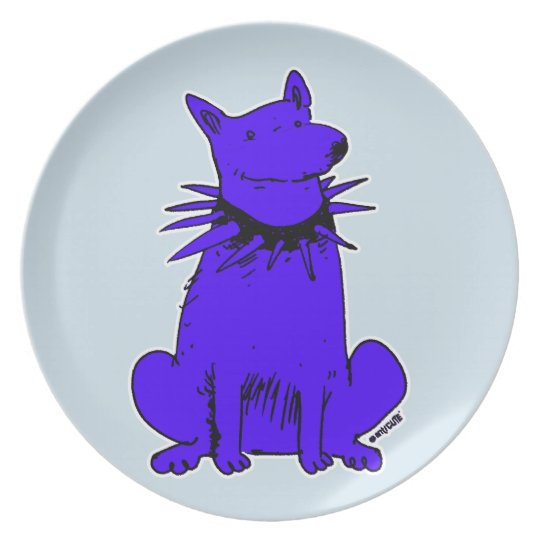 cartoon style guard dog pure blue plate