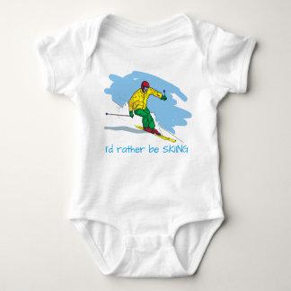Cartoon Style Rather Be Skiing Illustration Baby Bodysuit