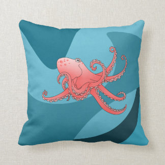 Cartoon style smiling octopus throw cushions