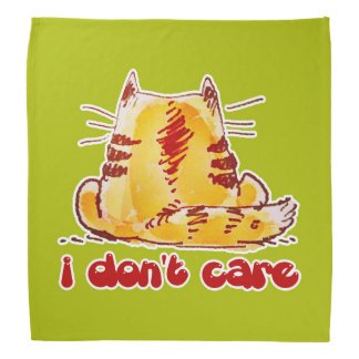 cartoon style tabby cat with text i dont care head kerchief
