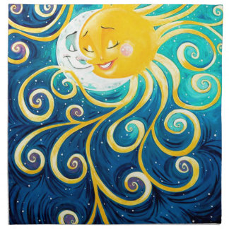 cartoon sun and moon love peace napkin