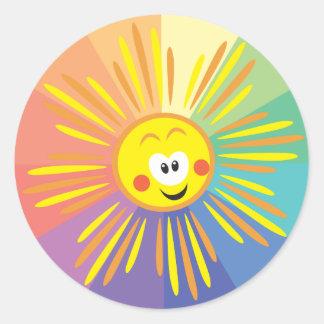cartoon sun classic round sticker