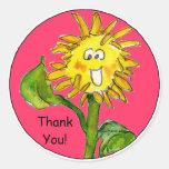 Cartoon Sunflower Thank You Stickers