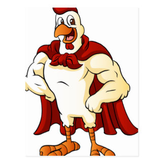 Cartoon super rooster posing postcard