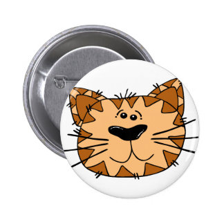 Cartoon Tabby Cat Face 6 Cm Round Badge