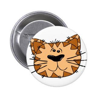 Cartoon Tabby Cat Face 6 Cm Round Badge