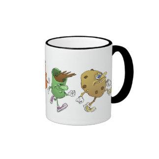 Cartoon tea break characters, on a mug. ringer mug