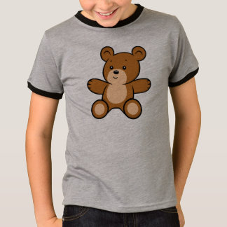 Cartoon Teddy Bear Boy's Ringer T-Shirt