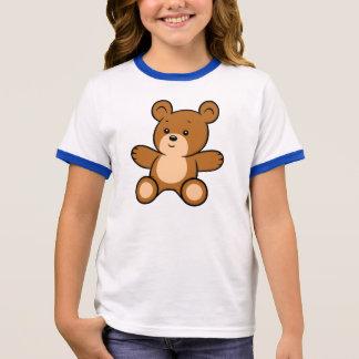 Cartoon Teddy Bear Girl's Ringer T-Shirt