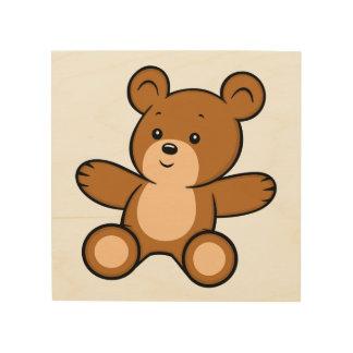 Cartoon Teddy Bear Wood Wall Art