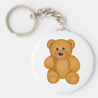 Cartoon Teddy Design Basic Round Button Key Ring