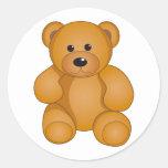Cartoon Teddy Design Round Stickers