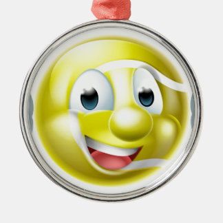 Cartoon Tennis Ball Character Silver-Colored Round Decoration