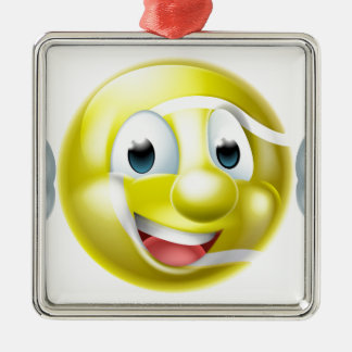Cartoon Tennis Ball Character Silver-Colored Square Decoration