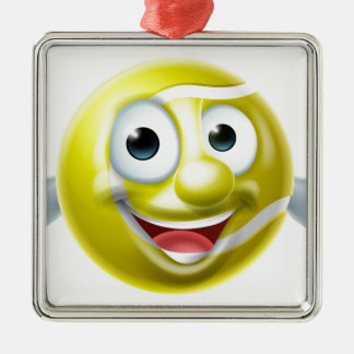 Cartoon Tennis Ball Man Silver-Colored Square Decoration