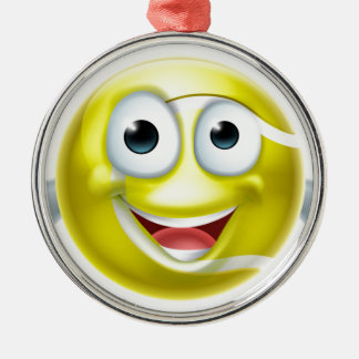 Cartoon Tennis Ball Thumbs Up Man Character Silver-Colored Round Decoration