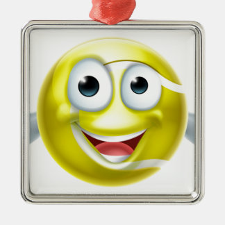 Cartoon Tennis Ball Thumbs Up Man Character Silver-Colored Square Decoration