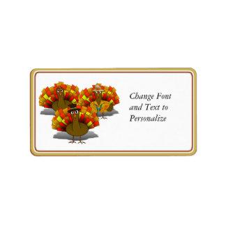 Cartoon Thanksgiving Turkey Trio Address Label