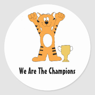 Cartoon Tiger Champion With Trophy Round Sticker