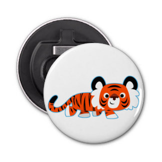 Cartoon Tiger on The Prowl Button Bottle Opener