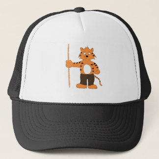 Cartoon Tiger With Pool Cue Trucker Hat