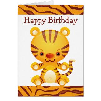 Cartoon Tiger with Tiger Print Happy Birthday Greeting Card