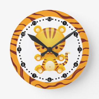 Cartoon Tiger with Tiger Print Round Clock