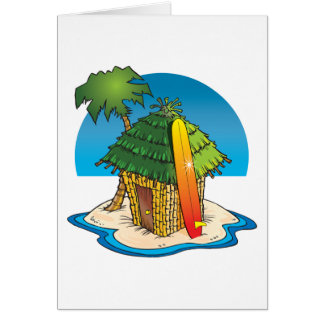 Cartoon Tiki Hut with Surfboard and Palm Card