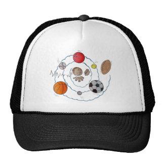 Cartoon toddler boy dreaming of sport's balls trucker hats