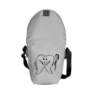 Cartoon Tooth Holding Toothbrush Courier Bag