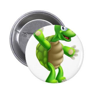 Cartoon Tortoise or Turtle Waving 6 Cm Round Badge