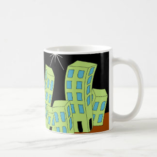 Cartoon Town Night Skyline Mugs