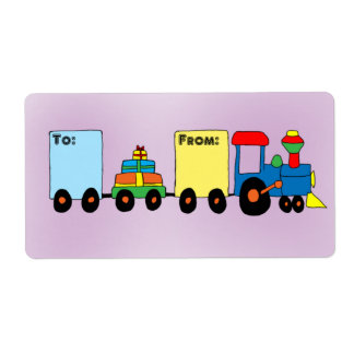 Cartoon Toy Train Gift Tag Label