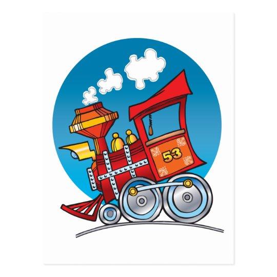 Cartoon Train Engine Postcard