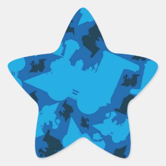 Cartoon Train Silhouette Pattern Star Sticker