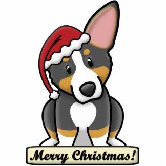 Cartoon Tri Corgi Christmas Ornament Acrylic Cut Outs