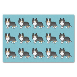 Cartoon Tricolor Sheltie Dogs Pattern On Blue Tissue Paper