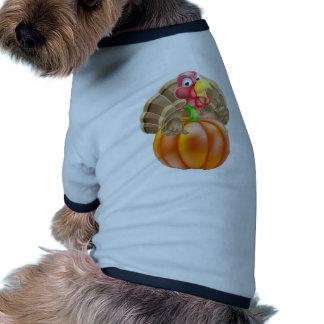 Cartoon Turkey and Pumpkin Ringer Dog Shirt