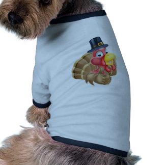 Cartoon Turkey in Pilgrim Hat Ringer Dog Shirt