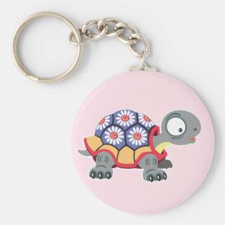 cartoon turtle basic round button key ring