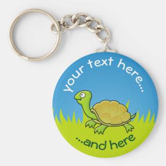 Cartoon Turtle on Grass Basic Round Button Key Ring